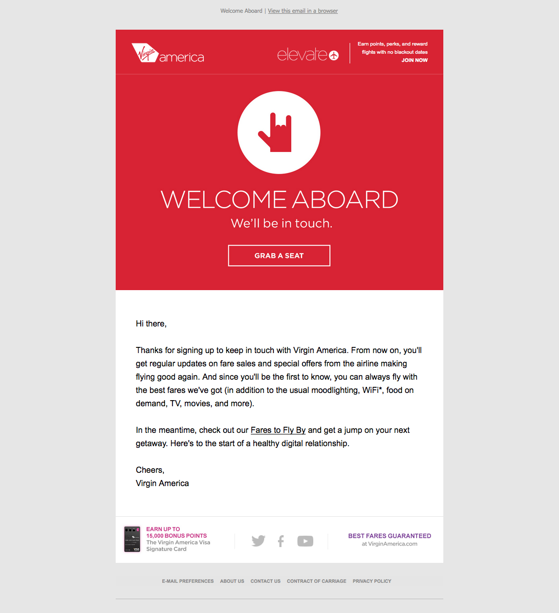 Virgin America welcome email with a red CTA to get started