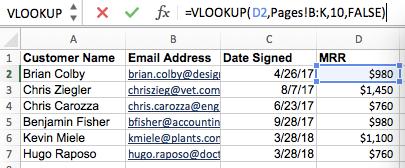 使用Excel的VLOOKUP公式構建器中的數據填充新列