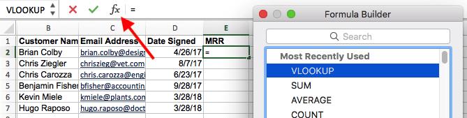 Excel中的函數(Fx)圖標,用於訪問VLOOKUP公式構建器