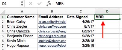 在Excel中輸入新的列標題以使用VLOOKUP功能
