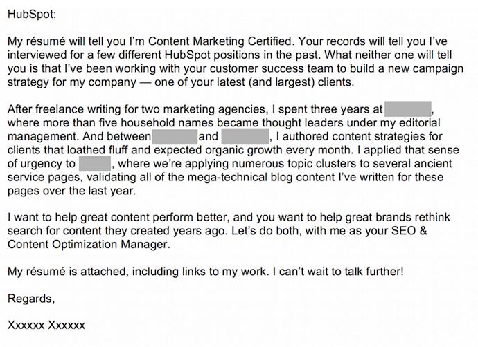 我們的意思是提交給HubSpot的其他求職信