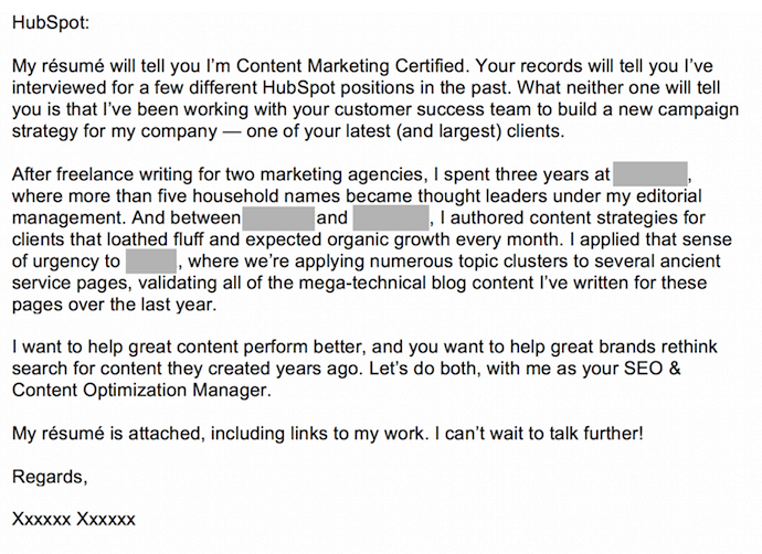 We're meant for each other cover letter submitted to HubSpot