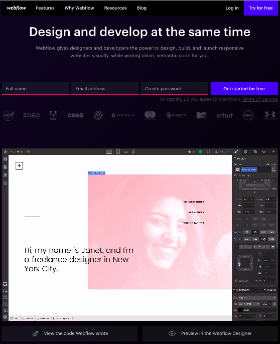 Trang đích đăng ký bằng Webflow