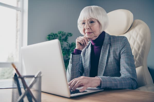 Woman attends a webinar