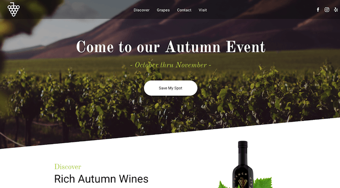 Website promoting wine event built with Duda