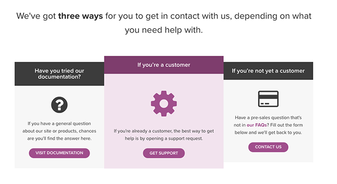 woocommerce contact page that includes documentation, support, and contact options